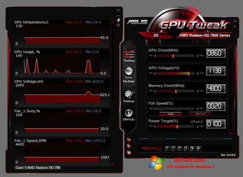 Снимак заслона ASUS GPU Tweak Windows 7