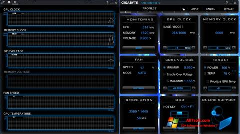 Снимак заслона GIGABYTE OC Guru Windows 7