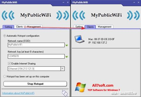 Снимак заслона MyPublicWiFi Windows 7