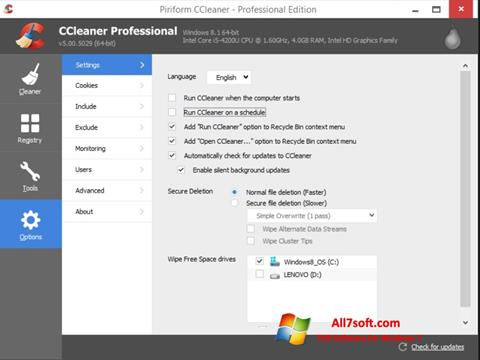 Снимак заслона CCleaner Windows 7