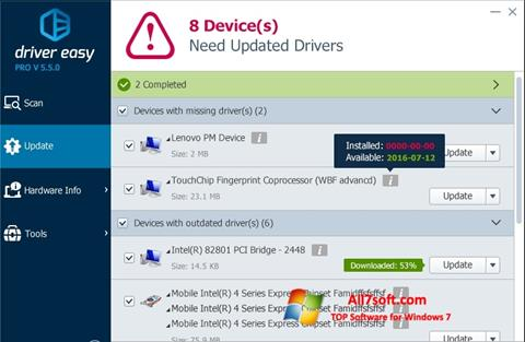 Снимак заслона Driver Easy Windows 7