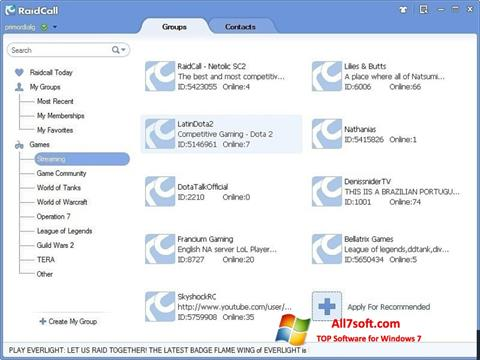 Снимак заслона RaidCall Windows 7