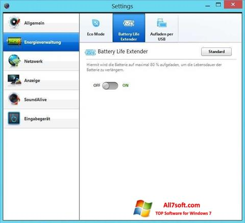 Снимак заслона Easy Settings Windows 7