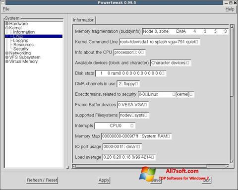 Снимак заслона PowerTweak Windows 7