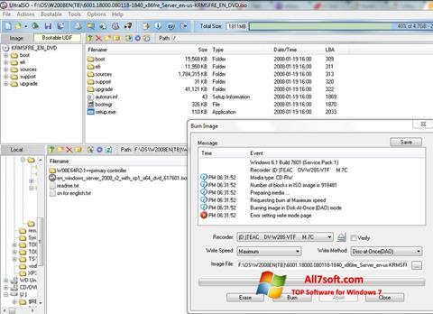 Снимак заслона UltraISO Windows 7