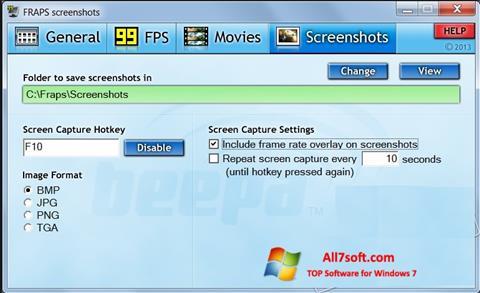 Снимак заслона Fraps Windows 7