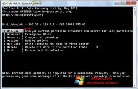 Снимак заслона TestDisk Windows 7
