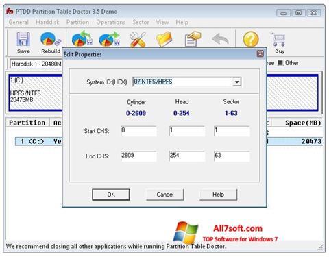Снимак заслона Partition Table Doctor Windows 7