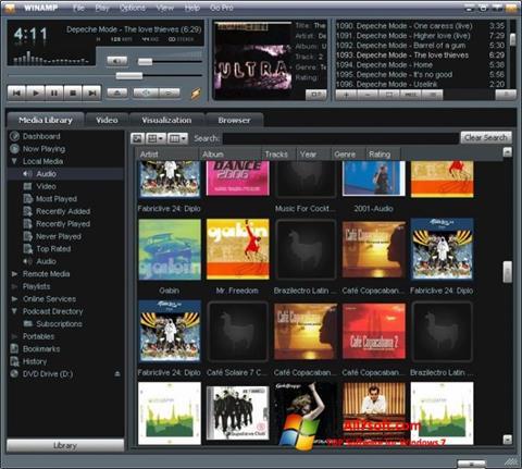 Снимак заслона Winamp Windows 7