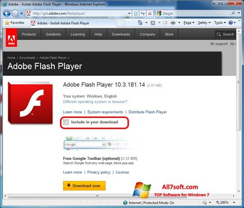 Снимак заслона Adobe Flash Player Windows 7