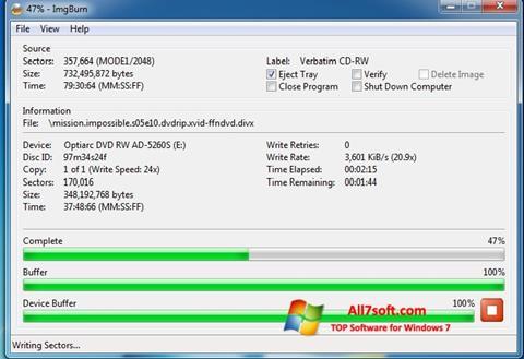 Снимак заслона ImgBurn Windows 7