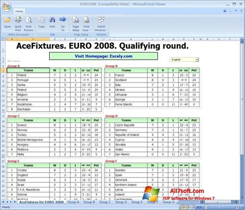 Снимак заслона Excel Viewer Windows 7