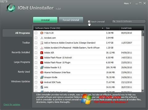 Снимак заслона IObit Uninstaller Windows 7
