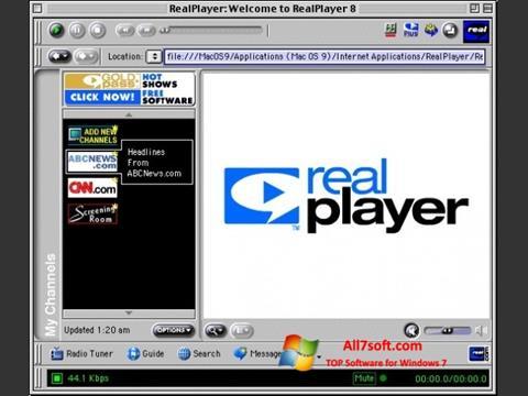 Снимак заслона RealPlayer Windows 7