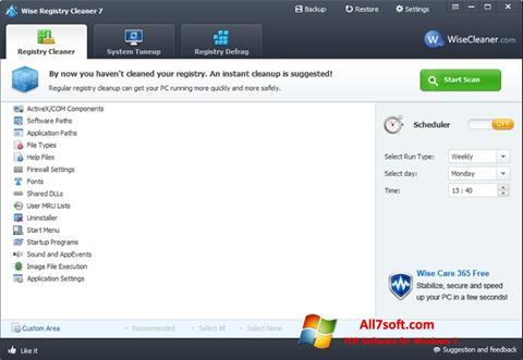 Снимак заслона Wise Registry Cleaner Windows 7