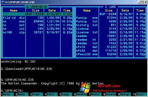 Снимак заслона Norton Commander Windows 7