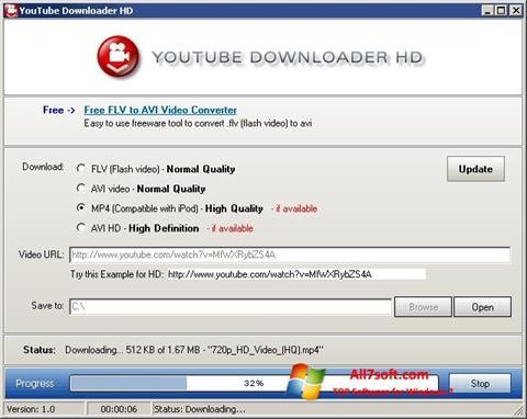 Снимак заслона Youtube Downloader HD Windows 7