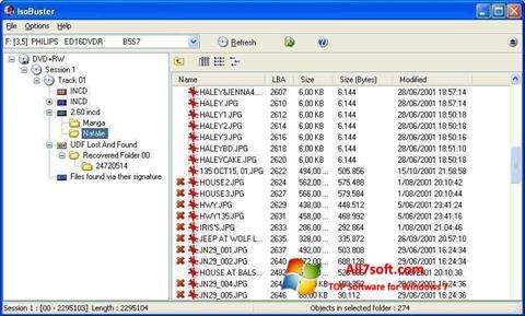 Снимак заслона IsoBuster Windows 7